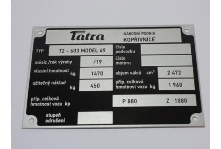 Štítek Tatra 603 - model 69