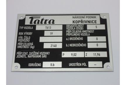 Štítek Tatra 613