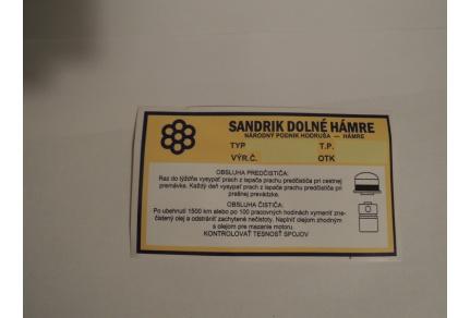Samolepka vzduchového filtru Tatra 603 - Sandrik