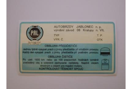 Samolepka vzduchového filtru Tatra 603 - PAL