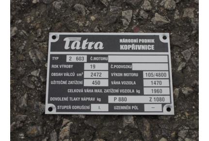 Štítek Tatra 603